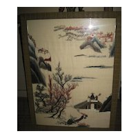Chinese Framed Landscape Scene Embroidery