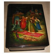 "Russian Black Lacquer Box ""The Tale of Tsar Saltan"""
