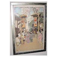 """Woodblock Print """"Country Holiday"""" by Hiroshi Yoshida"""