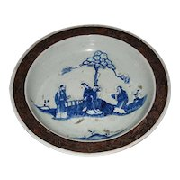 Chinese Porcelain Bowl with Blue Enamel Figures