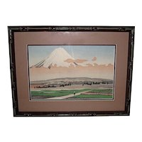 Japanese Woodblock Mt. Fuji and Miya  by Kenji Kawai
