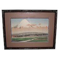 Japanese Woodblock Mt. Fuji and Miya  by Kenji Kawai