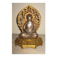 Exquisite Nepalese Seated Silver Amida Buddha