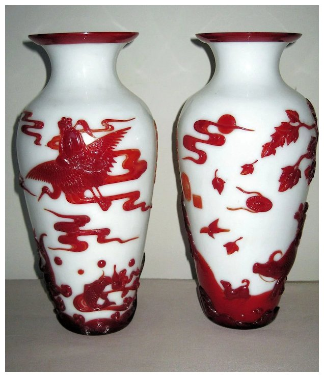 Exquisite Pair Of Chinese Red Overlay Peking Glass Vases Dynasty