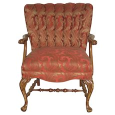 Beautiful 1950's Channel Chair in Red Vermilion Upholstery