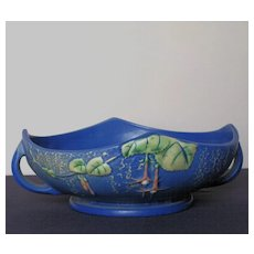 Roseville Pottery Blue Fuchsia Console Bowl with a Frog