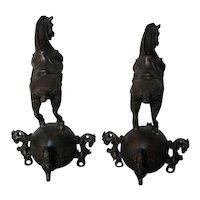 Pair of Small Chinese Bronze Horses