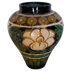 Chinese Ceramic Baluster Form Vase Incised Bold Floral Design