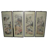 Eight Framed Korean Painted Panels with Processions