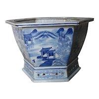 Antique Chinese Blue & White Porcelain Jardinière