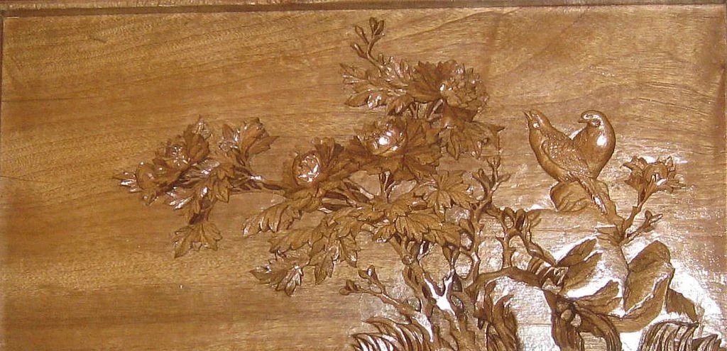 chinese carved wood floral and bird table screen dynasty