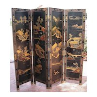 Chinese Four-Panel Wood Landscape Screen