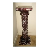 Five-Piece Red Marble Pedestal