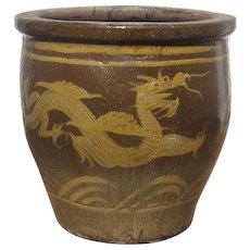 Chinese Brown Glazed Pottery Dragon Egg Jar Pi Tang Kong