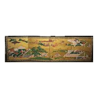 "Pair of `1600's Japanese Four-Panel  Screens ""Tale of Genji"""