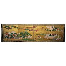 """Pair of `1600's Japanese Four-Panel  Screens """"Tale of Genji"""""""