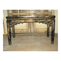 Late 19th/Early 20th C. Chinese Lacquered Wood Rectangular Table
