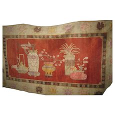 Large Chinese-Turkistan Red Area Wool Rug with Vases