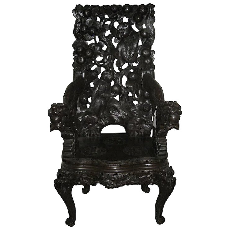 Japanese Carved Dark Wood Export Monkey Chair : Dynasty Collections &  Antiques | Ruby Lane - Japanese Carved Dark Wood Export Monkey Chair : Dynasty Collections