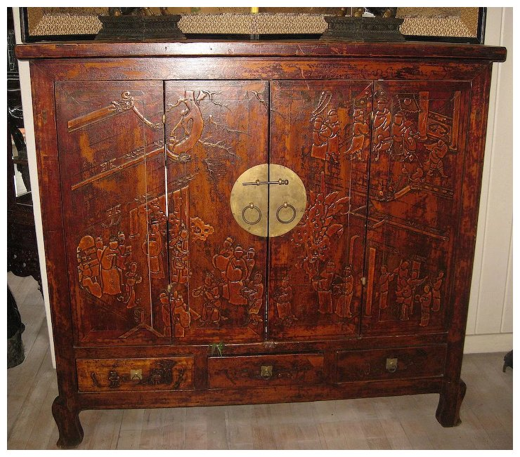 Exquisite Chinese Elmwood Cabinet