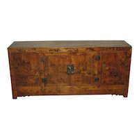 Chinese Low Wood Cabinet Painted Landscape Scenes