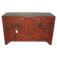 Antique Chinese Red-Lacquer Small Chest