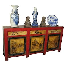 Beautiful Chinese Long Wood and Red Cabinet with Painted Scenes