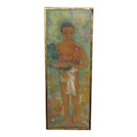 Decorative Framed  Pastel Painting of a Young Boy by McKinnon