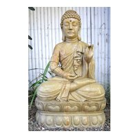 Chinese Carved Beige Marble Buddha