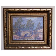 Mid- 20th Century Oil Painting of a California Landscape with a Bridge
