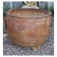 Chinese Ming Large Cast Iron Pot with Ring Handles