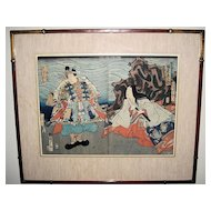 19th Century Woodblock Diptych Print of Opera Performers