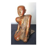 Gilt Lacquered Wood Seated Thai Buddhist Monk