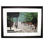 Woodblock Print of a Zen Temple by Saito