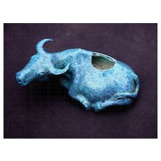 Chinese 19th Century Blue Porcelain Recumbent Bull Brush Washer