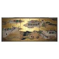 """Japanese Six-Panel Screen of """"The Tale of Genji"""""""