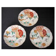 Three Japanese Imari Porcelain Plates from the Meiji Period