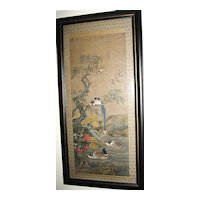 Japanese 19th Century Painted Floral & Bird Scroll