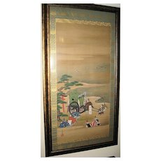 Japanese 19th century Painted Samurai Warriors Scroll
