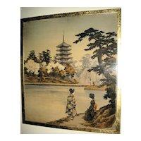 Old Japanese Textile of Lake Landscape Scene