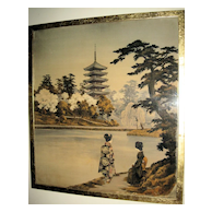 Old Japanese Textile of Lake Landscape Scene