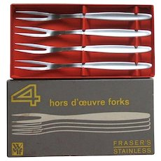 WMF Cromargan Germany Laurel Set of 4 Stainless Steel Hors d'oeuvre Snail Cocktail Forks in Original Box