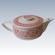 Vintage Royal China USA Memory Lane Pink Four Cup Teapot