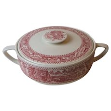 Royal China USA Memory Lane Pink Covered Casserole Serving Dish