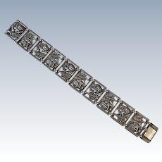 Vintage Sterling Silver Bracelet with Rose Flower Wide Link Panels 7 Inch