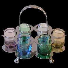 Vintage Farberware Chrome Holder Caddy With Six Colored Shot Glasses