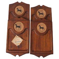 4 Black Horse Inn Rubel Wood Snack Trays Fred Press Styson NIB