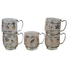 5 Vintage Libbey Glass Golden Foliage Punch Cups Mugs Gold Tone Metal Handles