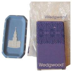 Vintage Wedgwood Blue Jasperware Pin Dish Bicentennial Independence Hall 1976 NIB