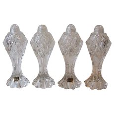 2 Pr Bohemia Czech Clear Cut Crystal Tall Salt and Pepper Shakers 7.75 Inch